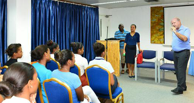 Minister St Ange and Ps Rose meeting the Miss Creole contestants